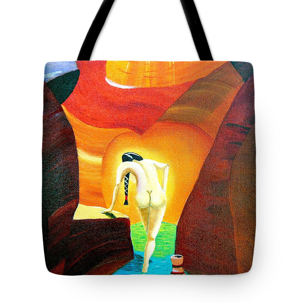 Morning Bath Tote Bag featuring the painting Morning Bath by Don Monahan