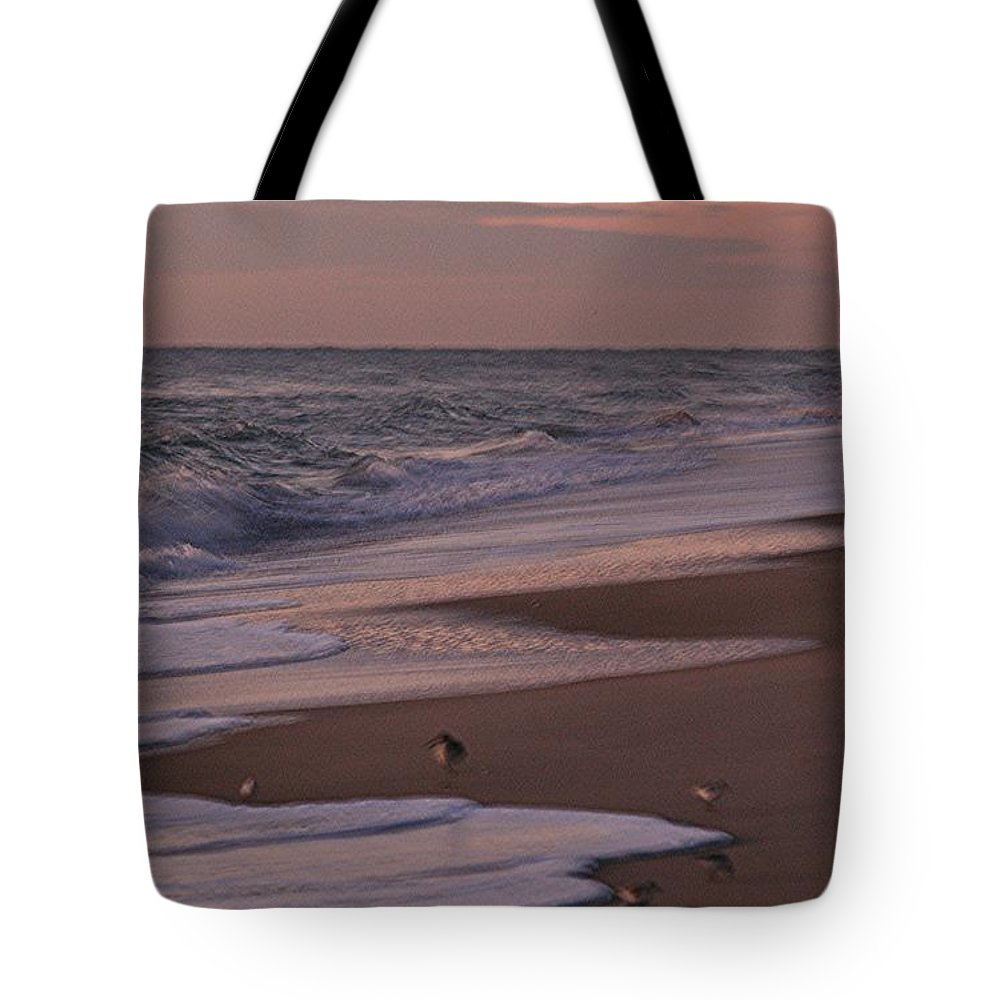 Beach Tote Bag featuring the photograph Morning Birds At The Beach by Nadine Rippelmeyer
