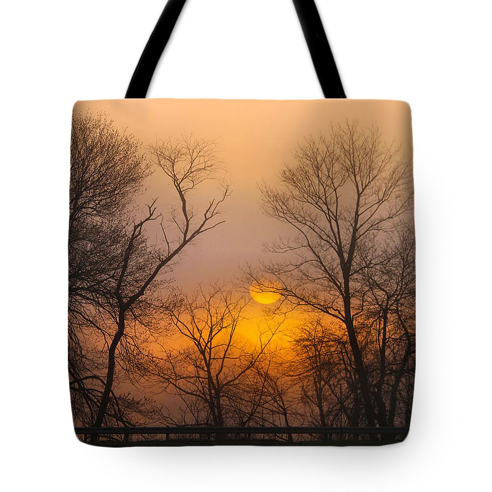Sunrise Tote Bag featuring the photograph Morning Fog by Roger Becker