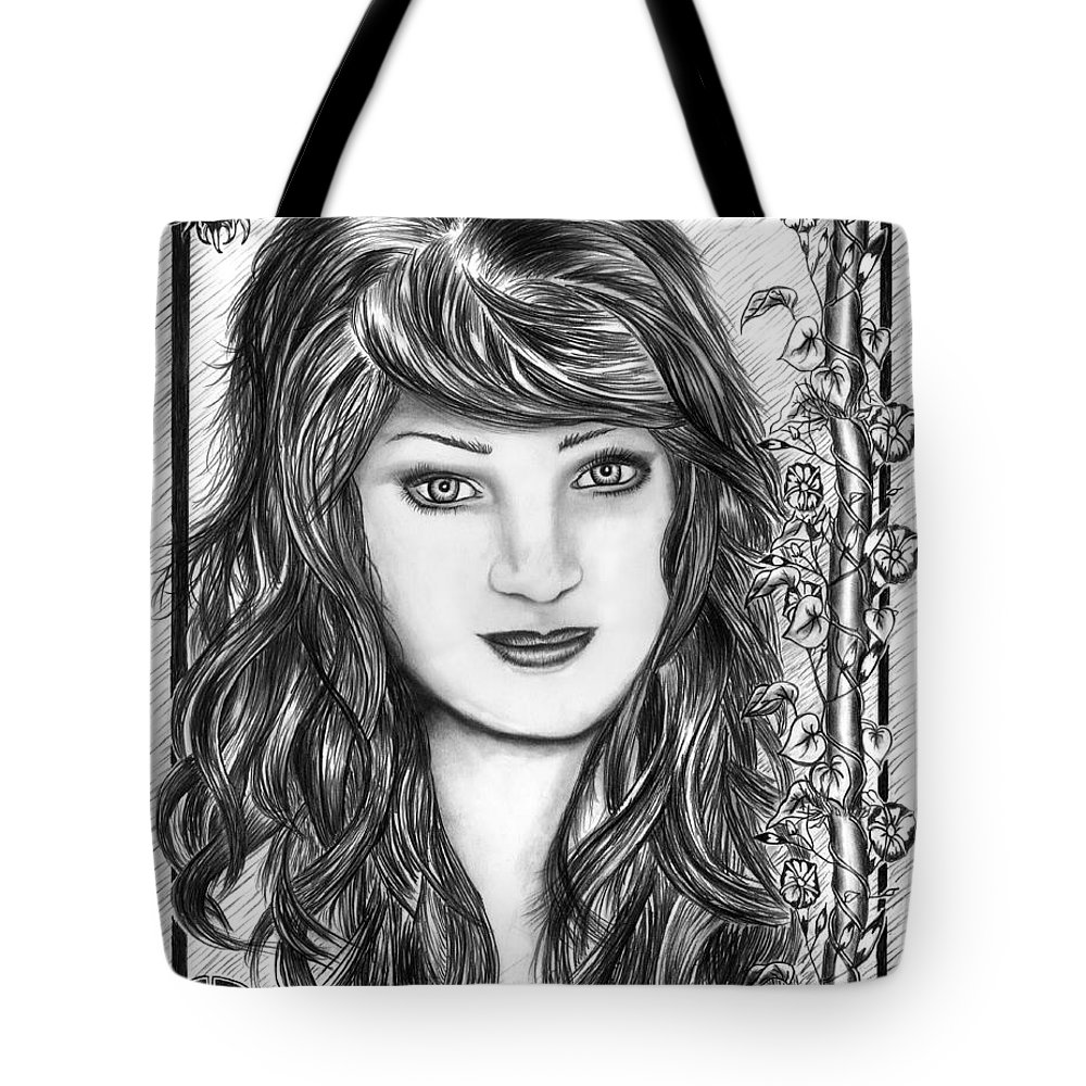 Morning Glory Tote Bag featuring the drawing Morning Glory by Peter Piatt