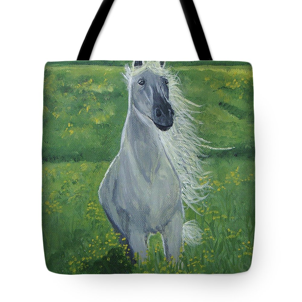 Horse Tote Bag featuring the painting Morning In The Pasture by Donna Blackhall
