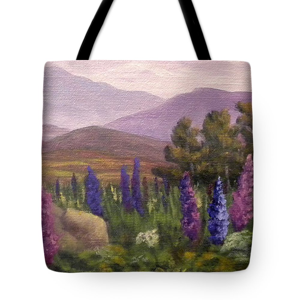 Lupines Tote Bag featuring the painting Morning Lupines by Sharon E Allen