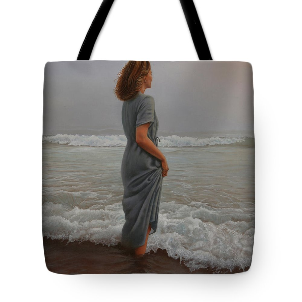 Realistic Tote Bag featuring the painting Morning Mist by Holly Kallie