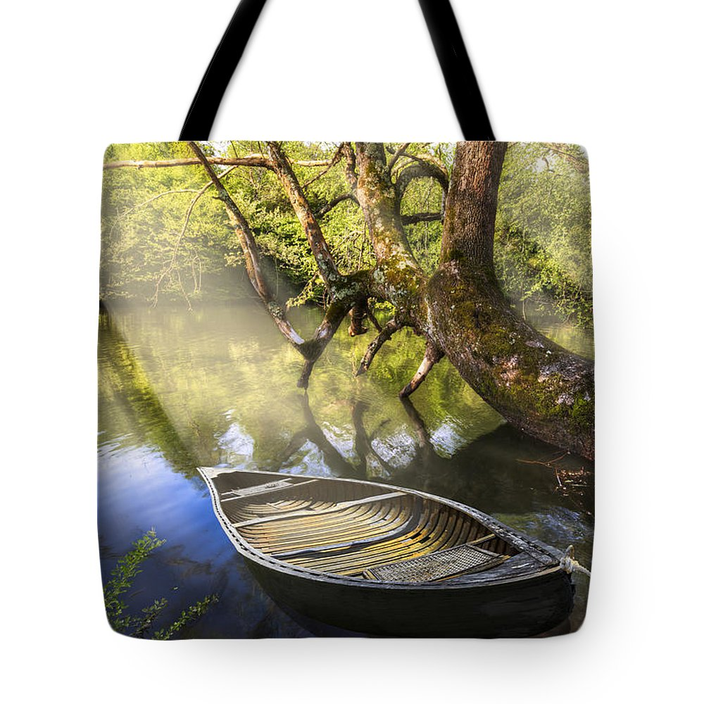 Appalachia Tote Bag featuring the photograph Morning Mists by Debra and Dave Vanderlaan