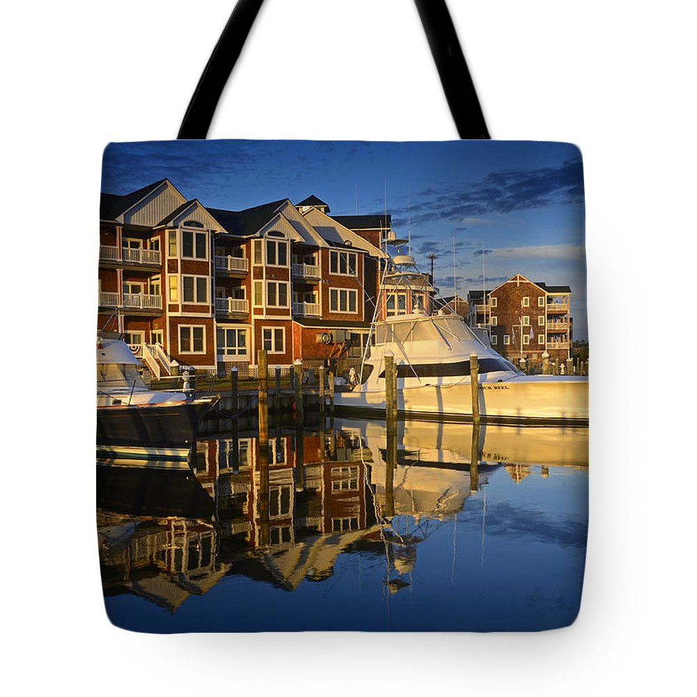 Outer Banks Tote Bag featuring the photograph Morning On The Docks by Eric Albright