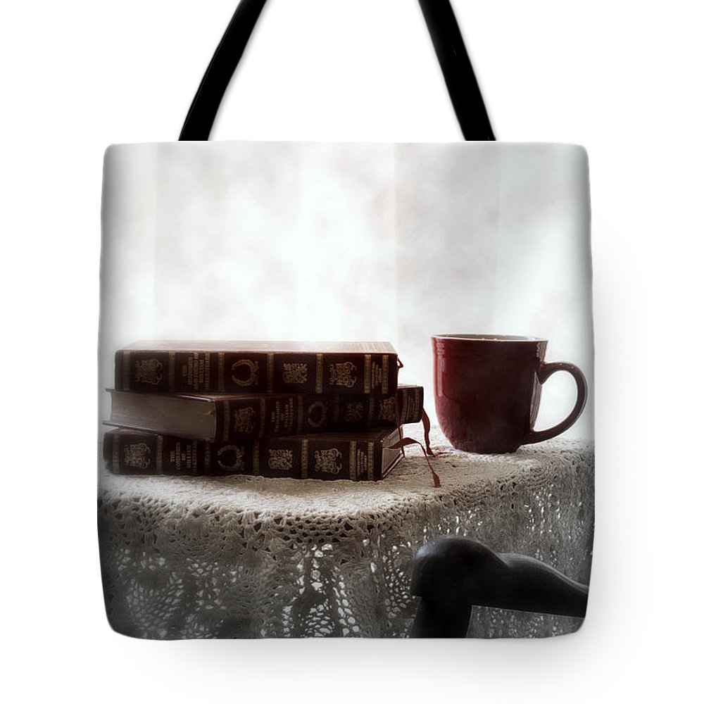 Romantic Tote Bag featuring the photograph Morning Read Series 1 by Robin Lynne Schwind