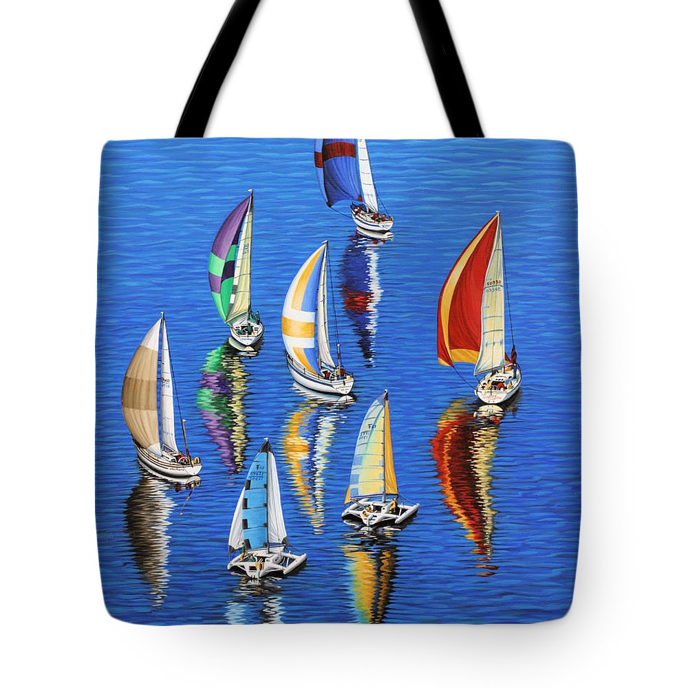 Ocean Tote Bag featuring the painting Morning Reflections by Jane Girardot