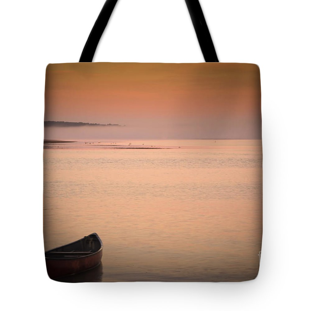 Sunrise Tote Bag featuring the photograph Morning Sea Smoke by Brenda Giasson