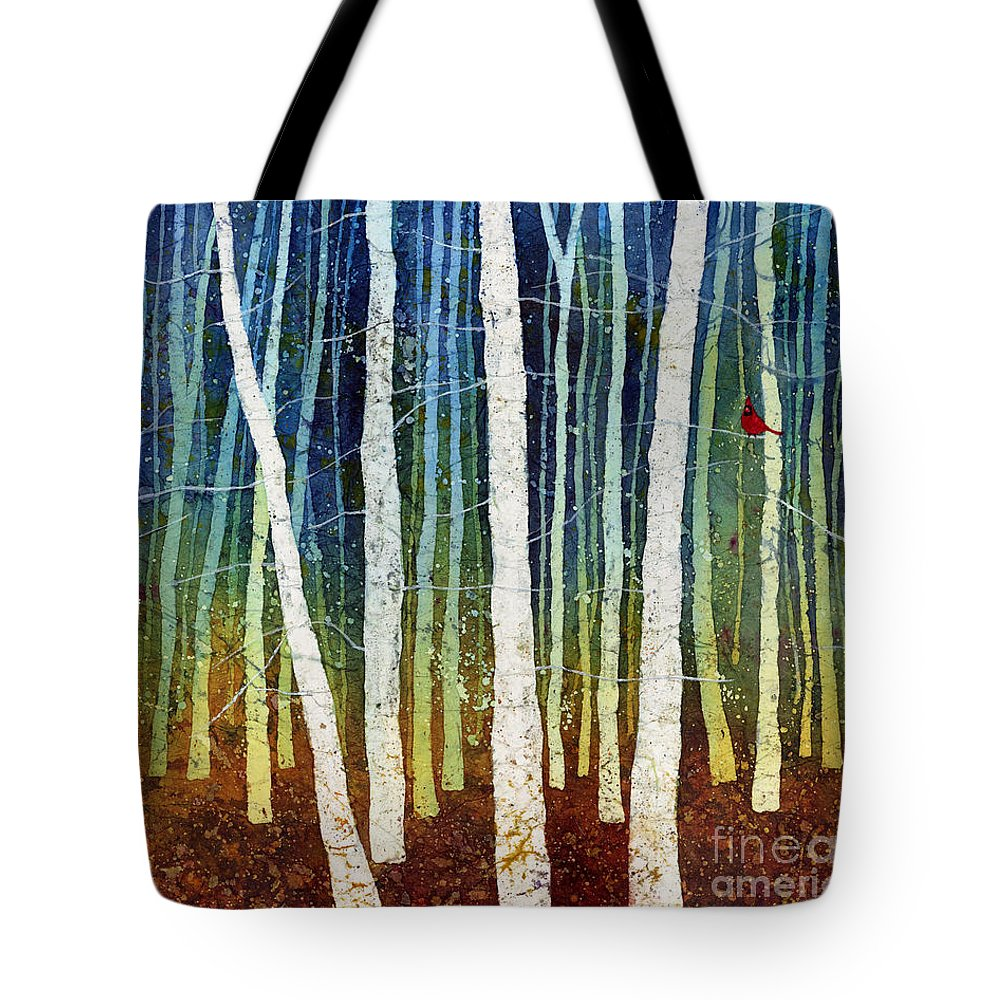 Cardinal Tote Bag featuring the painting Morning Song 3 by Hailey E Herrera