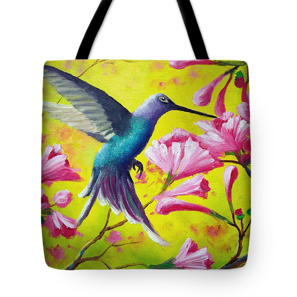 Hummingbird Tote Bag featuring the painting Morning Sweets by David G Paul