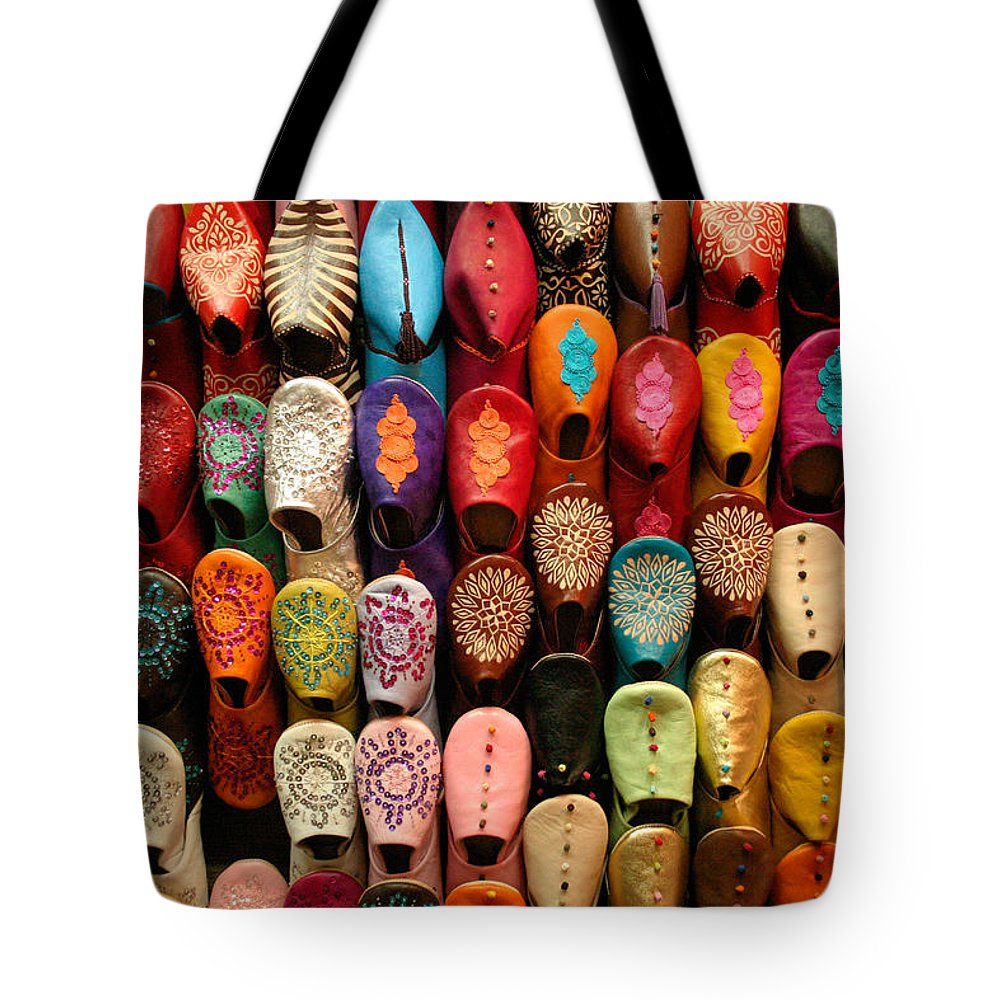 Babouches Tote Bag featuring the photograph Moroccan Babouches Old Medina Marrakesh Morocco by Ralph A Ledergerber-Photography