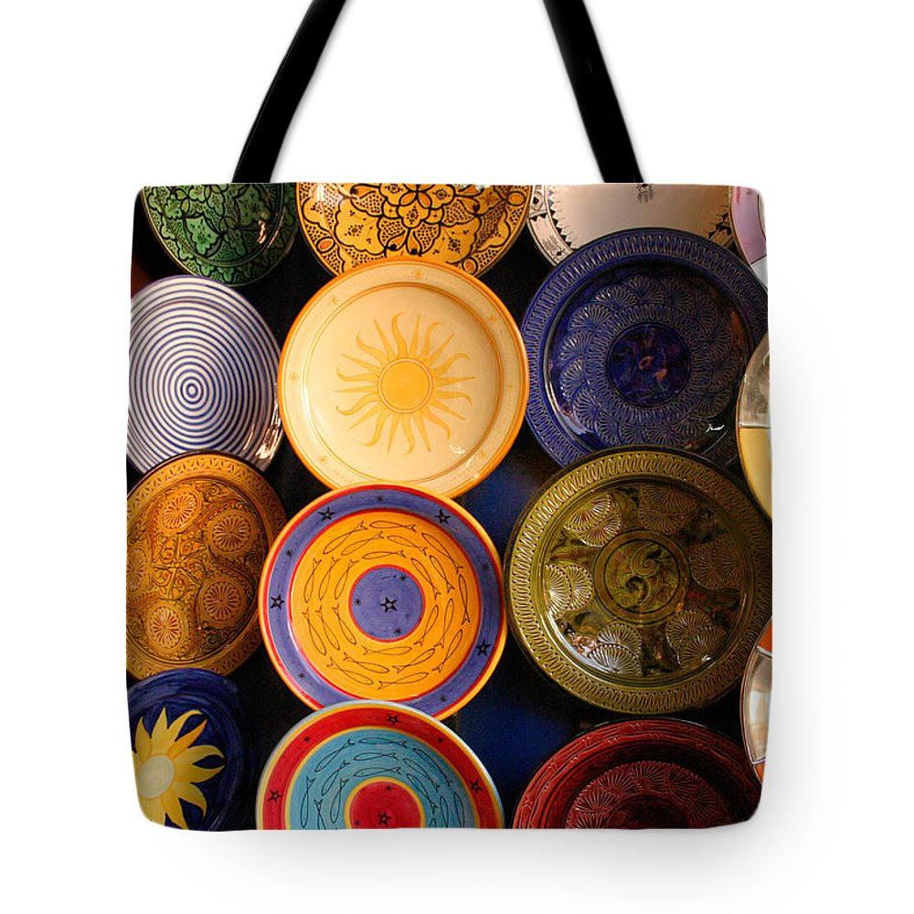 Morocco Tote Bag featuring the photograph Moroccan Pottery On Display For Sale by Ralph A Ledergerber-Photography