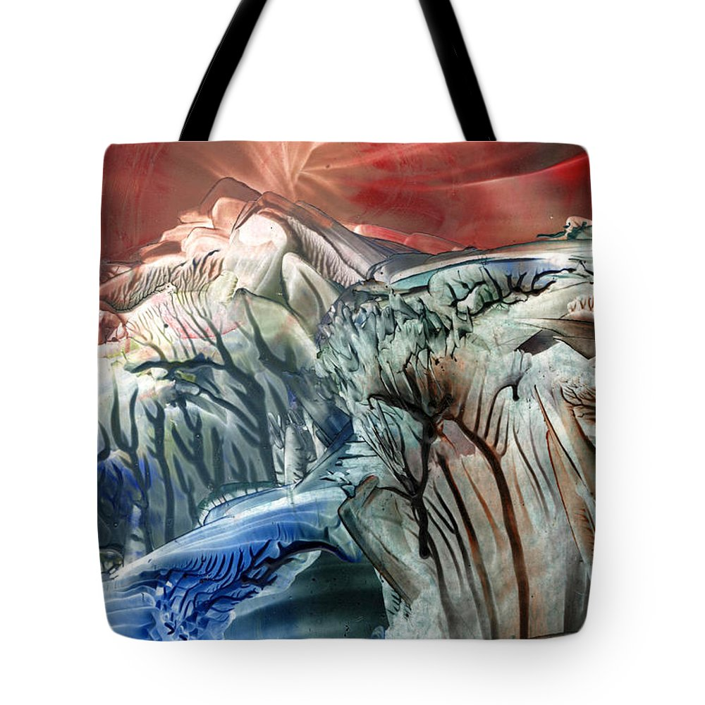 Wax Tote Bag featuring the painting Morphing Obscure Horizons Into Shifting Emotions by Cristina Handrabur
