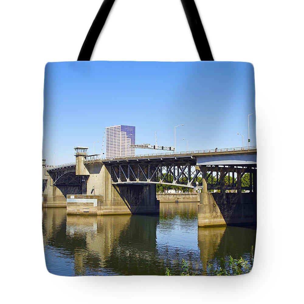 Morrison Tote Bag featuring the photograph Morrison Bridge Portland Oregon by David Gn