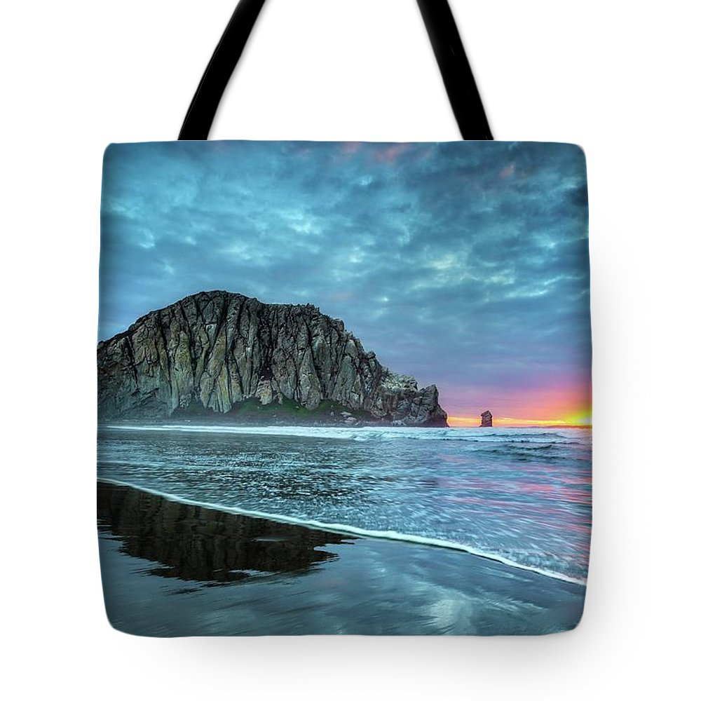 Tranquility Tote Bag featuring the photograph Morro Sunset by Tom Grubbe