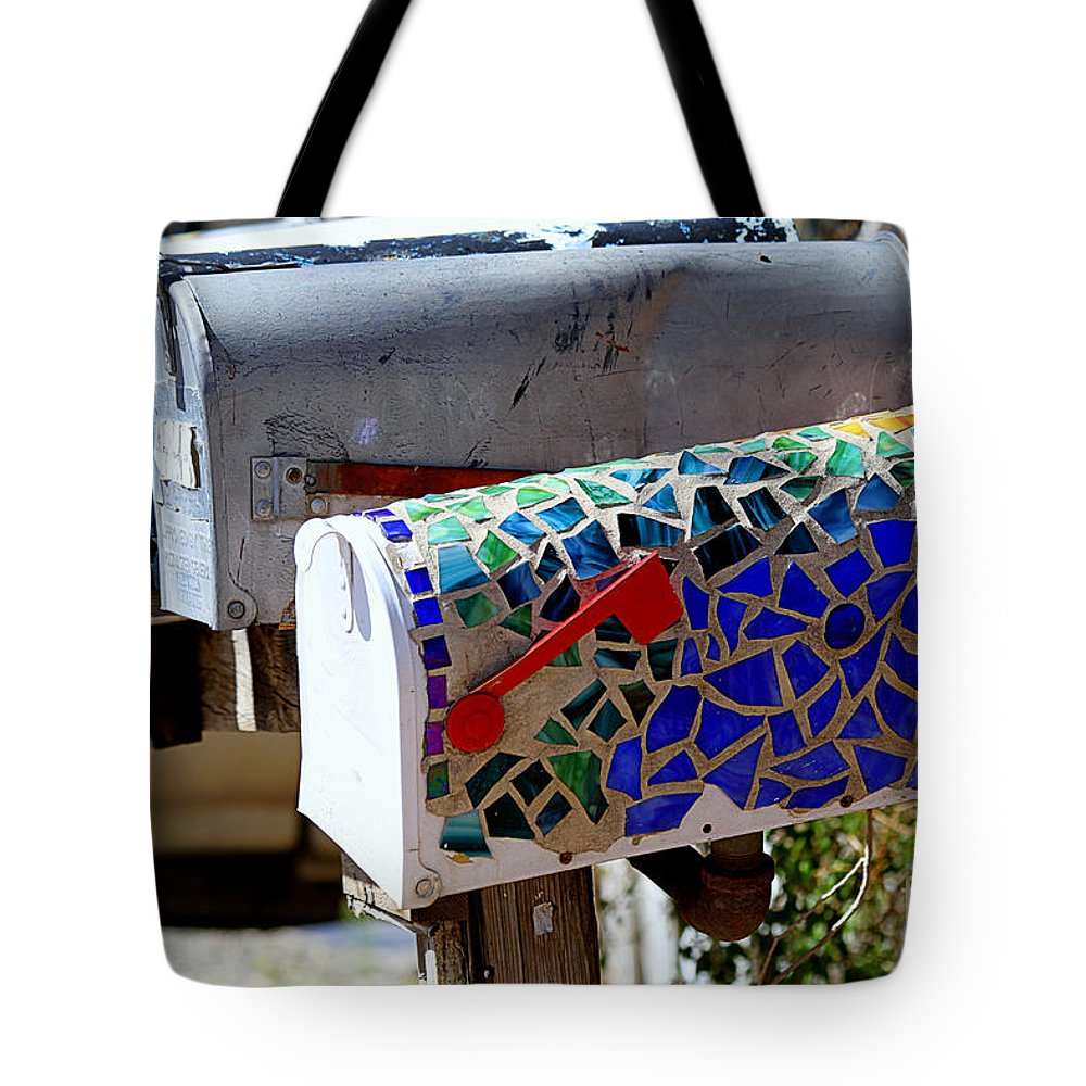 Mailboxes Tote Bag featuring the photograph Mosaic Mailbox On The Turquoise Trail In New Mexico by Catherine Sherman