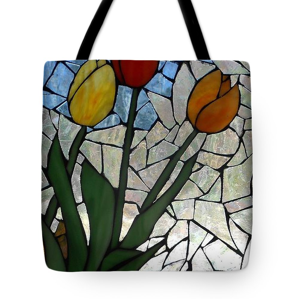 Tulips Tote Bag featuring the glass art Mosaic Stained Glass - Spring Shower by Catherine Van Der Woerd