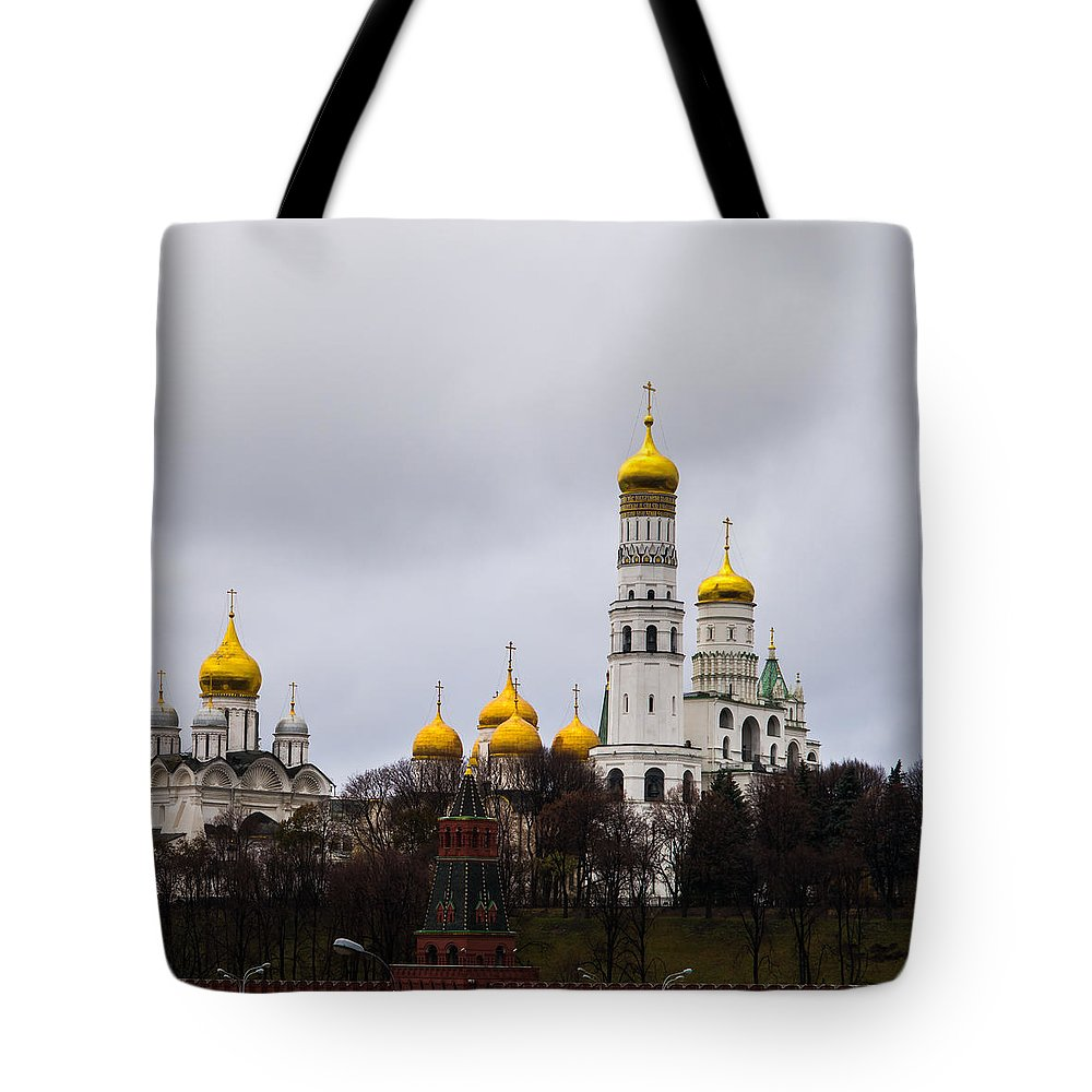 Archangel Tote Bag featuring the photograph Moscow Kremlin Cathedrals - Square by Alexander Senin