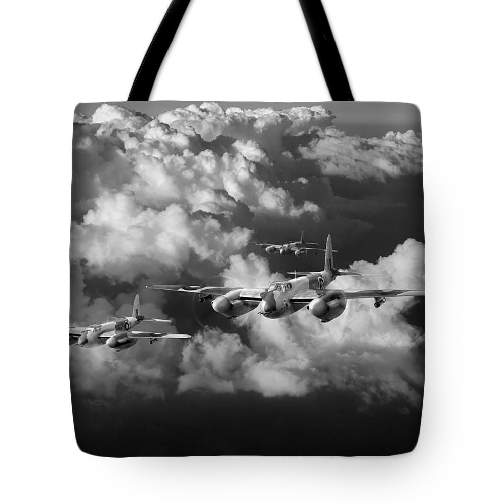 Dh Mosquito Tote Bag featuring the photograph Mosquitos Above Clouds Black And White Version by Gary Eason