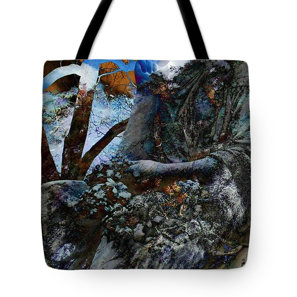 Moss Veils And Illuminated Tote Bag featuring the digital art Moss Veils And Illuminated by Elizabeth McTaggart
