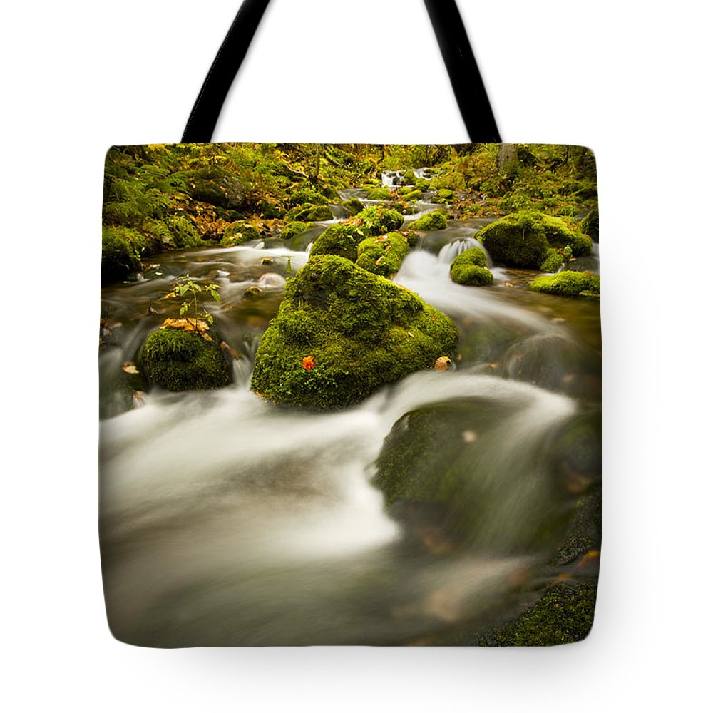 Brook Tote Bag featuring the photograph Mossy Rocks Along Lavis Brook In The by Irwin Barrett