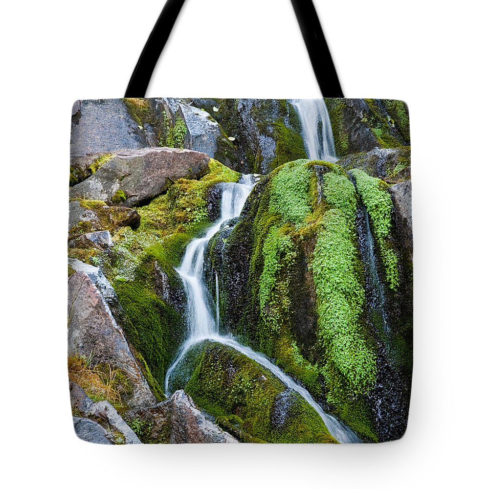 Cascade Range Tote Bag featuring the photograph Mossy Waterfall At Snow Lake by Jeff Goulden
