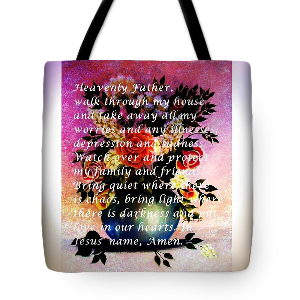 Most Powerful Prayer With Flowers In A Vase Tote Bag featuring the painting Most Powerful Prayer With Flowers In A Vase by Barbara Griffin