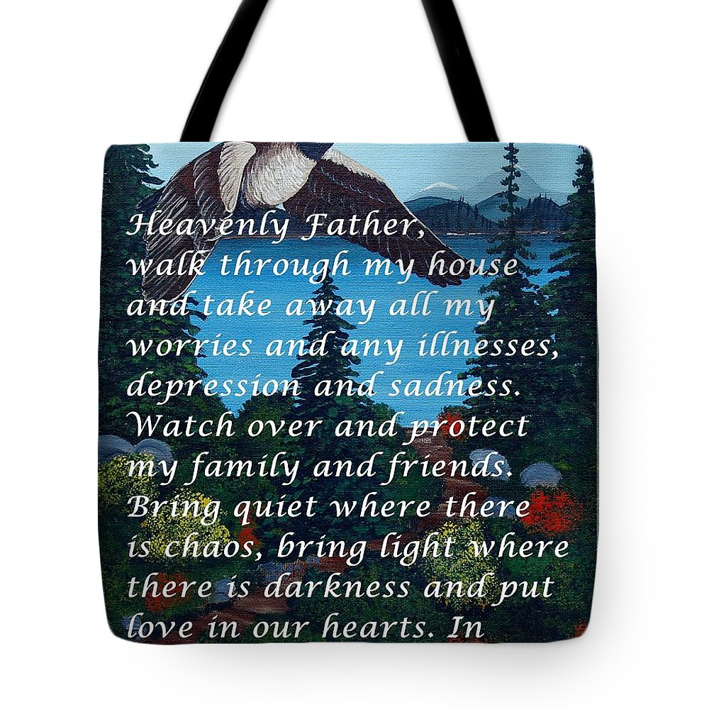 Most Powerful Prayer With Goose Flying And Autumn Scene Tote Bag featuring the digital art Most Powerful Prayer With Goose Flying And Autumn Scene by Barbara Griffin