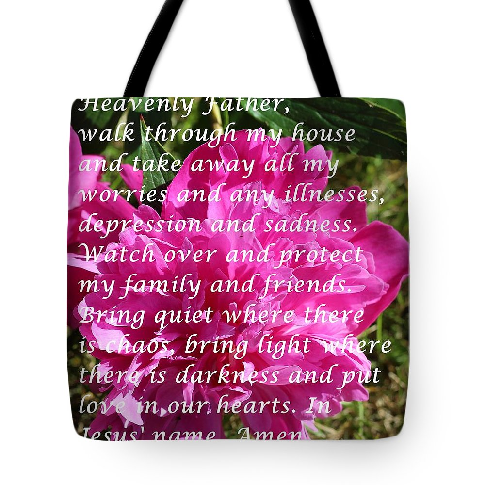Most Powerful Prayer With Peony Bush Tote Bag featuring the digital art Most Powerful Prayer With Peony Bush by Barbara Griffin