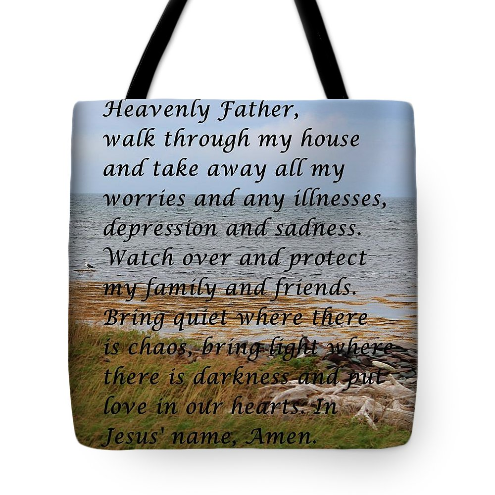 Most Powerful Prayer With Seashore Tote Bag featuring the digital art Most Powerful Prayer With Seashore by Barbara Griffin