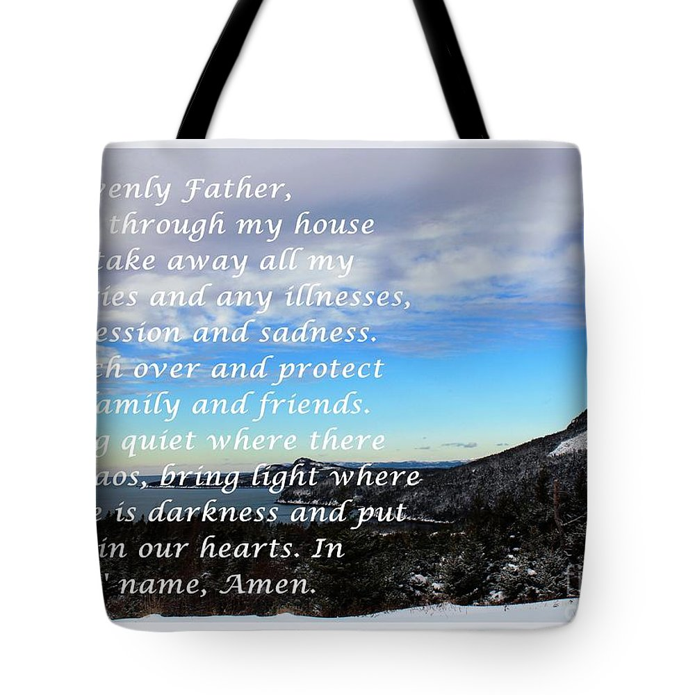 Most Powerful Prayer With Winter Scene Tote Bag featuring the digital art Most Powerful Prayer With Winter Scene by Barbara Griffin