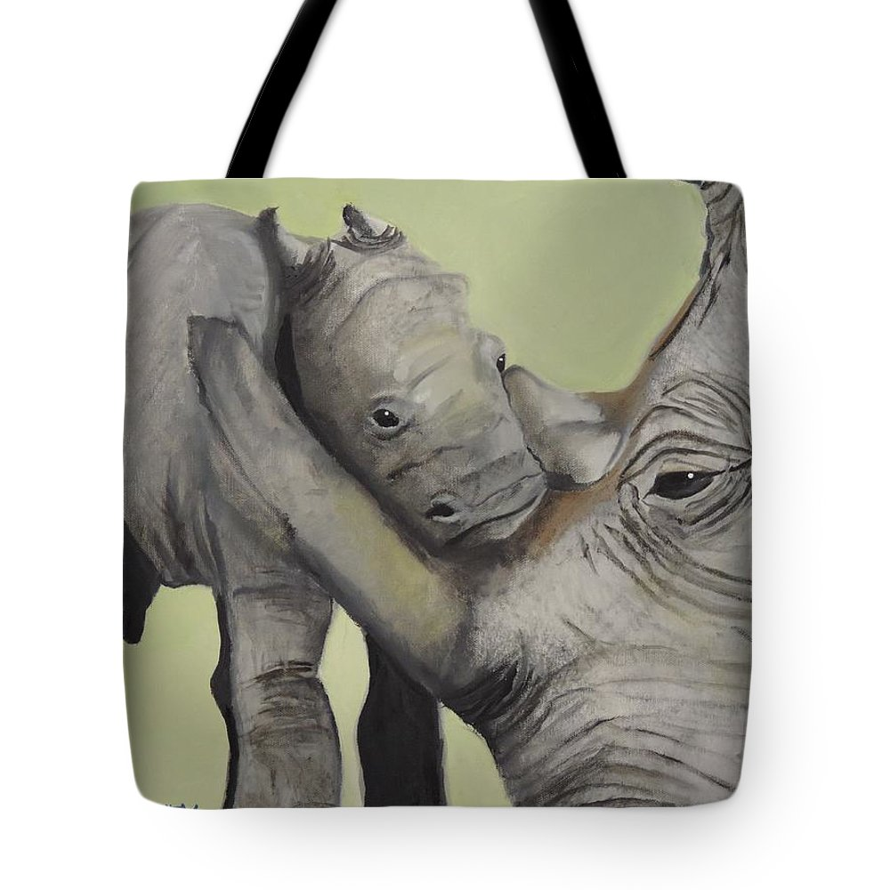 Rhino Tote Bag featuring the painting Mother And Baby 1 by Terry Lewey