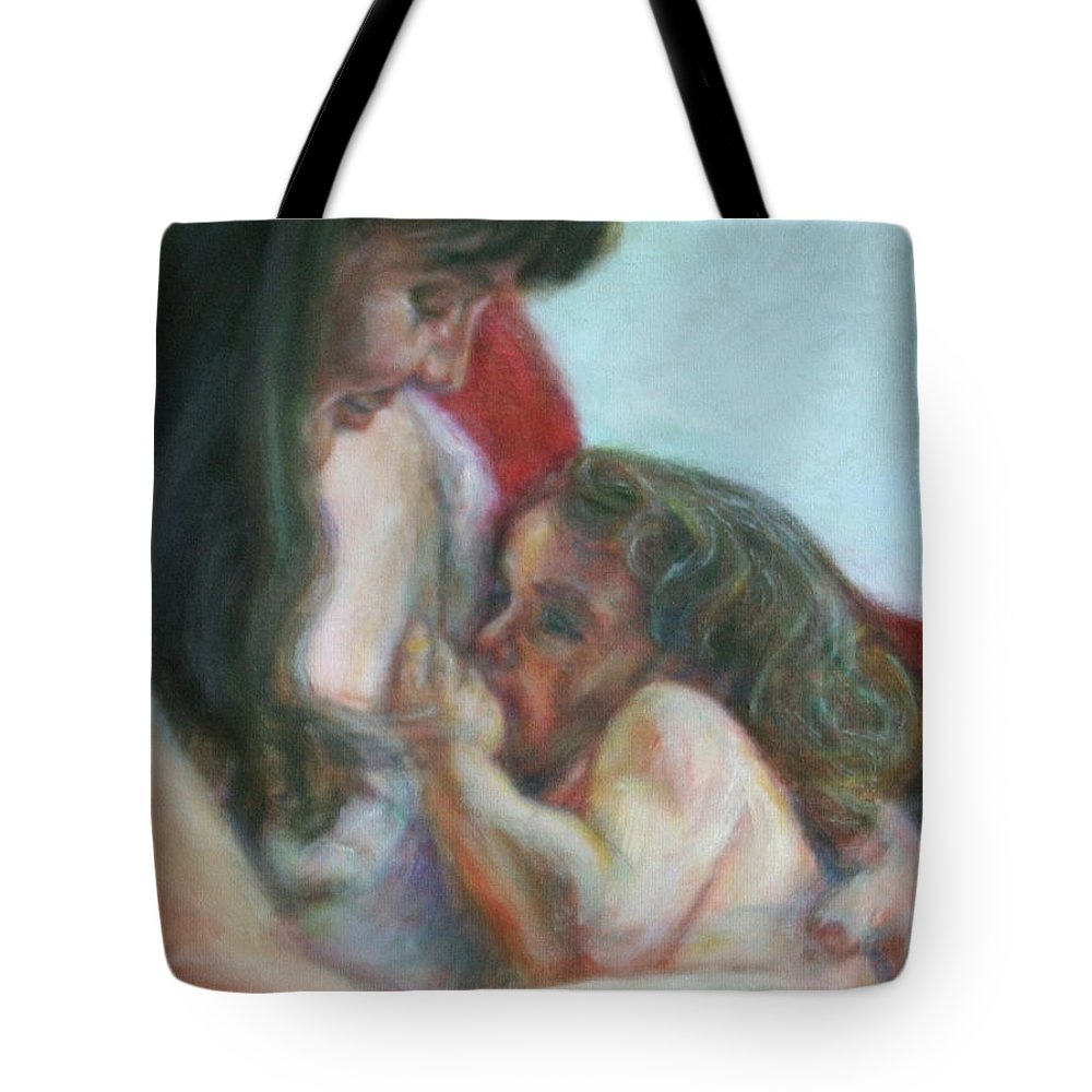 Portrait Tote Bag featuring the painting Mother And Child - Detail by Quin Sweetman