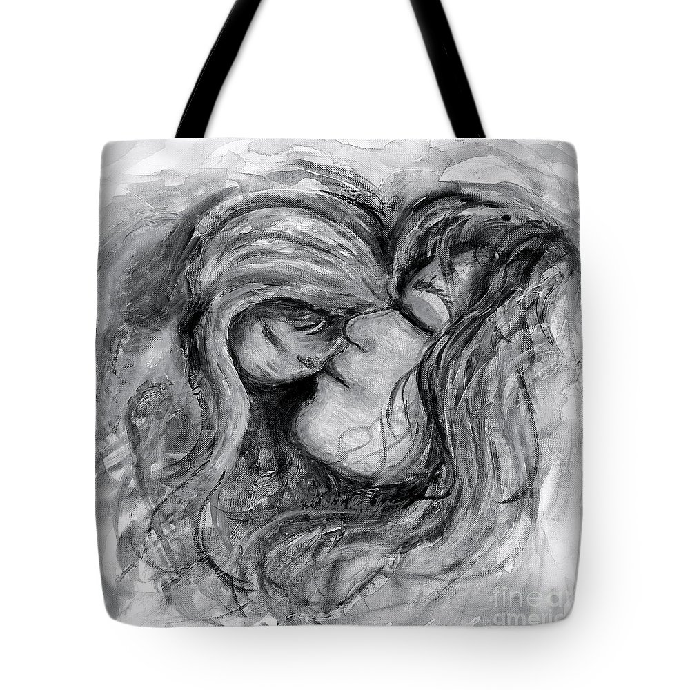 Mother And Child Tote Bag featuring the painting Mother and Child in Black and White by Nadine Rippelmeyer