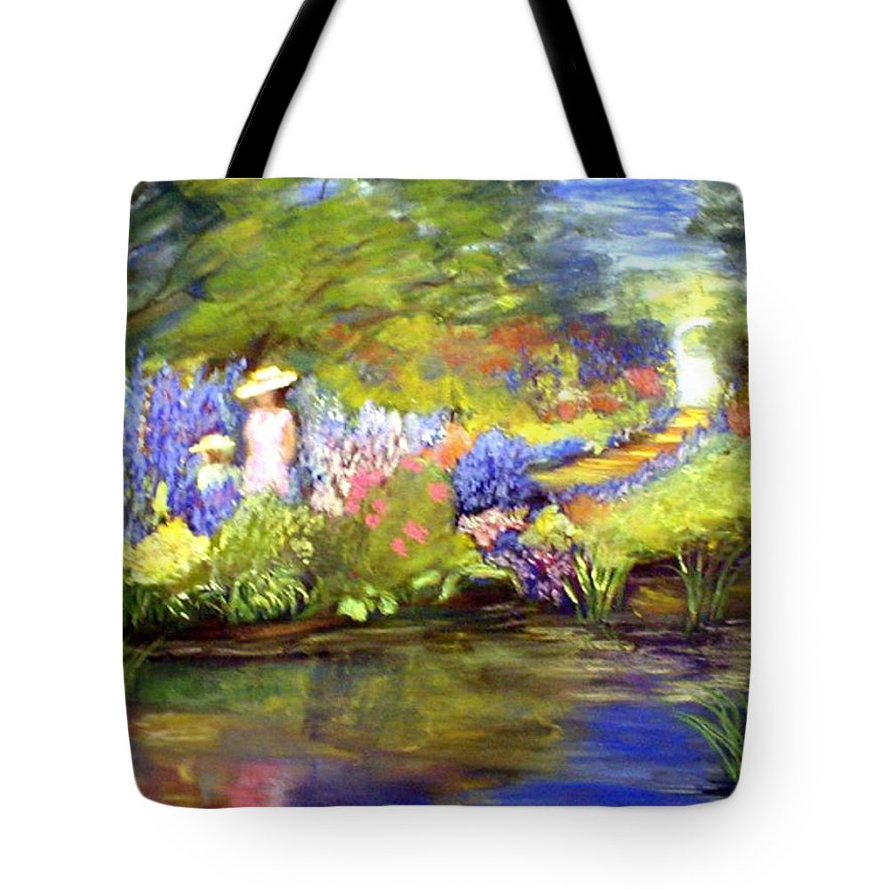 Flower Garden Tote Bag featuring the painting Mother And Daughter by Gail Kirtz