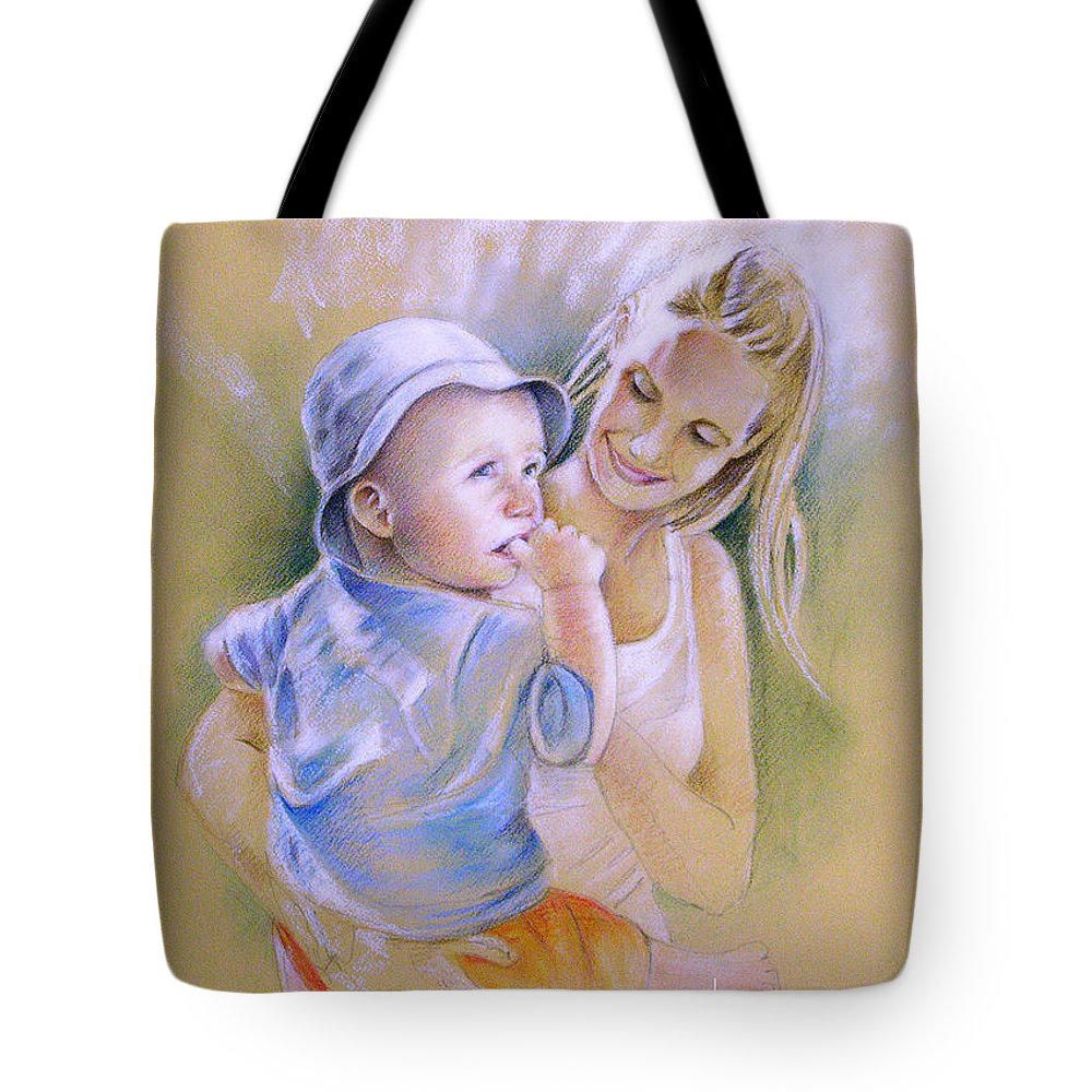 Portrait Tote Bag featuring the painting Mother And Son by Miki De Goodaboom