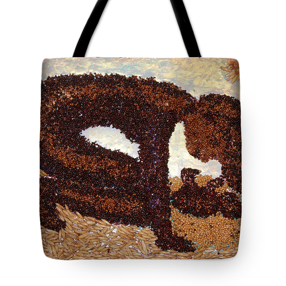 Mother And Child Tote Bag featuring the mixed media Mother Earth I by Naomi Gerrard