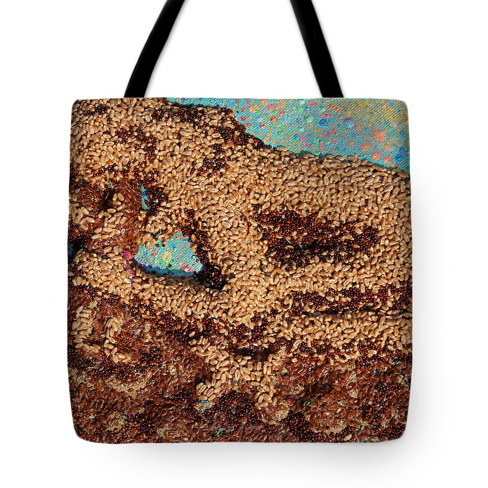 Mother And Child Tote Bag featuring the mixed media Mother Earth IV by Naomi Gerrard