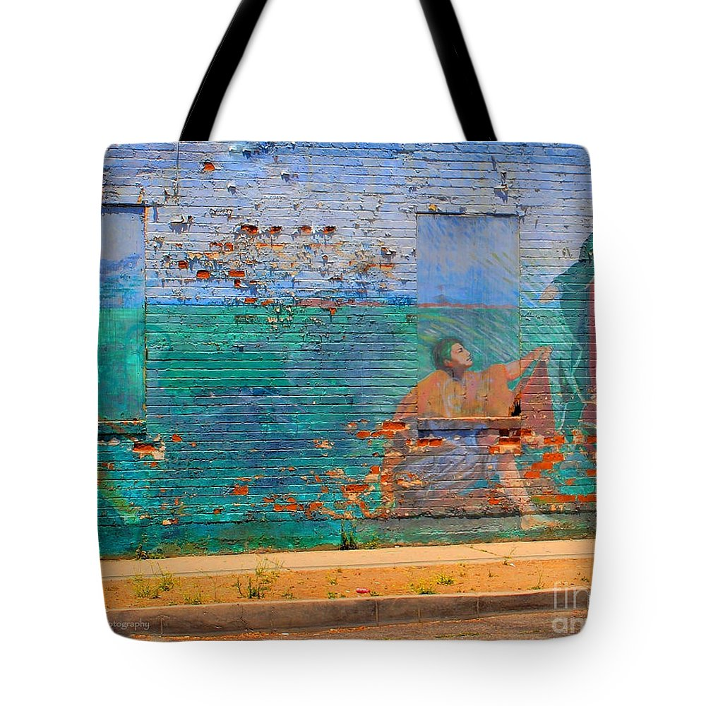Mother Mary Tote Bag featuring the photograph City Mural - Mother Mary by Kip Krause