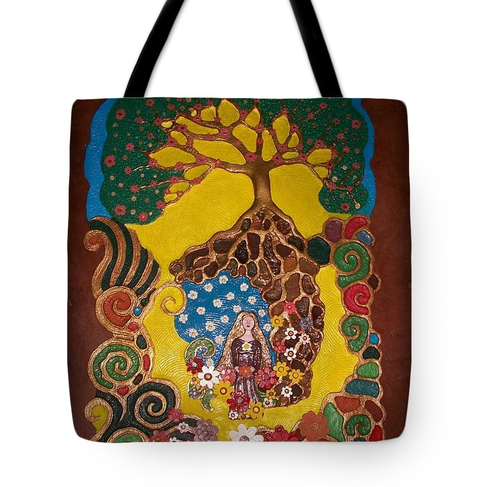 Handmade Papier Mache Artwork Tote Bag featuring the mixed media Mother Nature 2 by Otil Rotcod