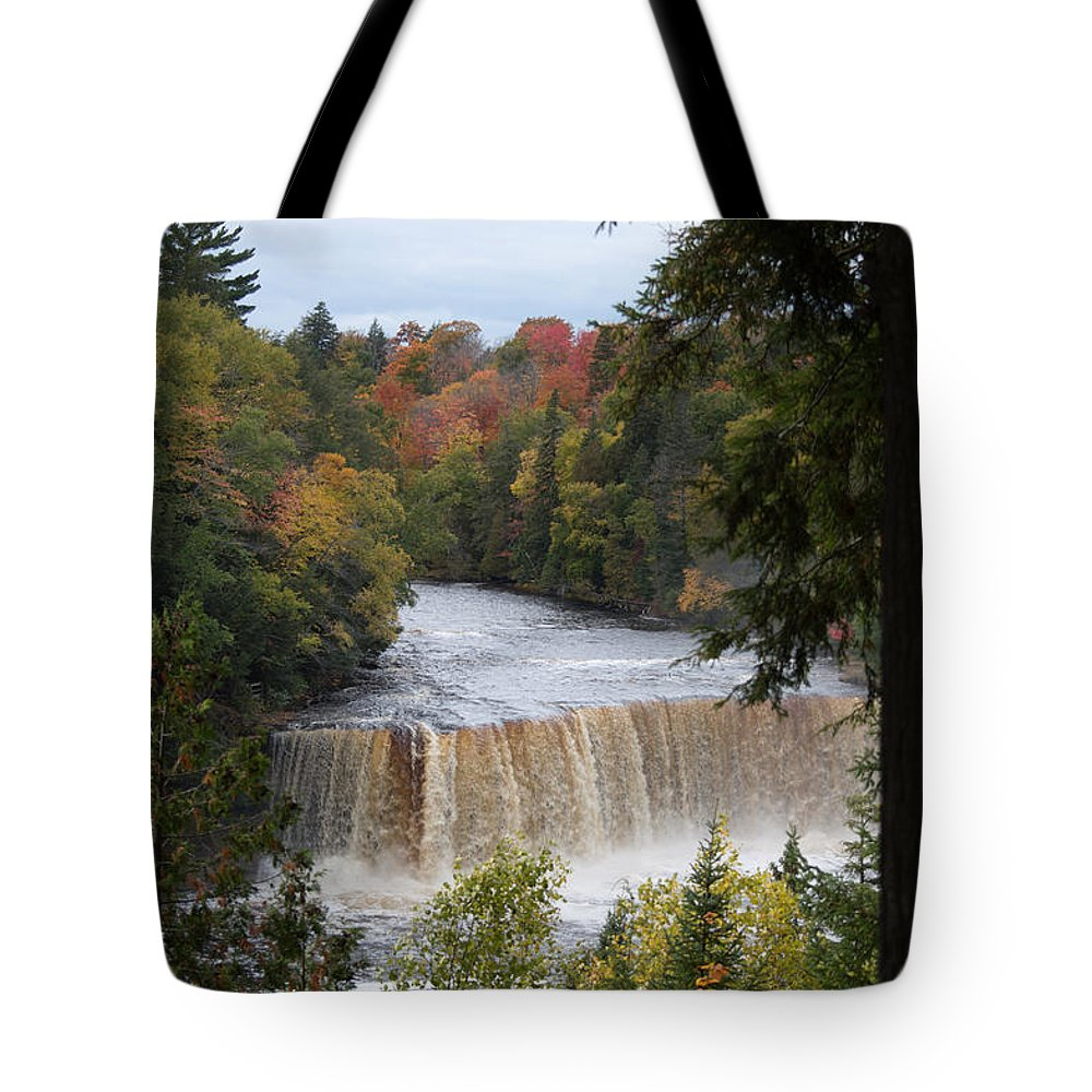 Upper Tahquamenon Falls Tote Bag featuring the photograph Mother Nature's Canvas by Linda Kerkau