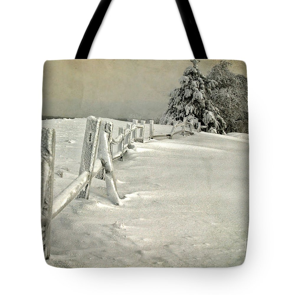 Snow Tote Bag featuring the photograph Mother Nature's Christmas Tree by Lois Bryan