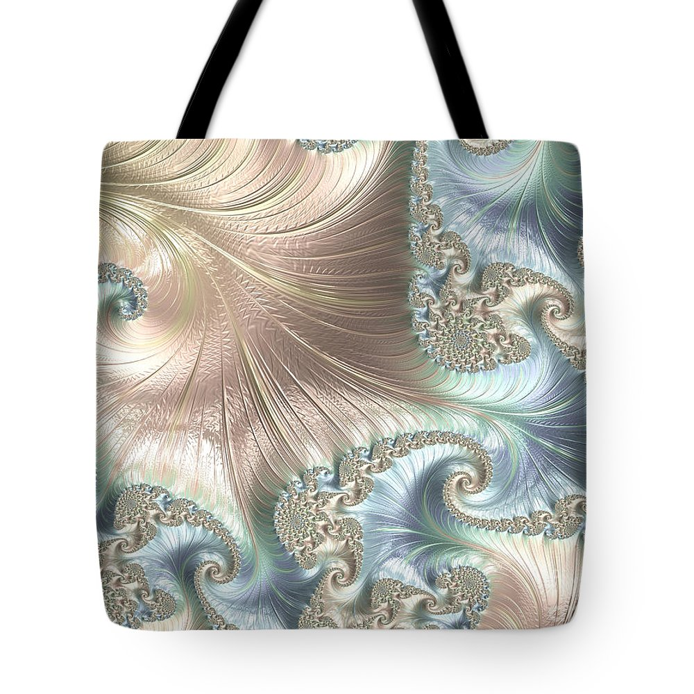 Fractal Tote Bag featuring the digital art Mother Of Pearl - A Fractal Abstract by Ann Garrett