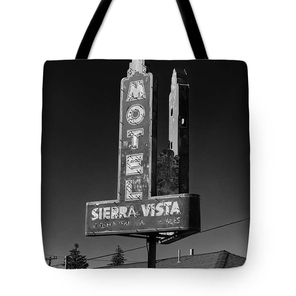 Motel Tote Bag featuring the photograph Mother Road Motel Black And White by Joshua House