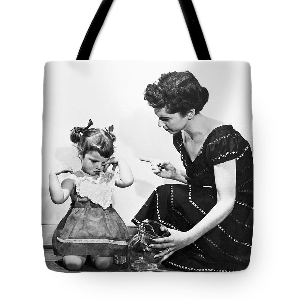 1940s Tote Bag featuring the photograph Mother Scolding Tearful Child by Underwood Archives