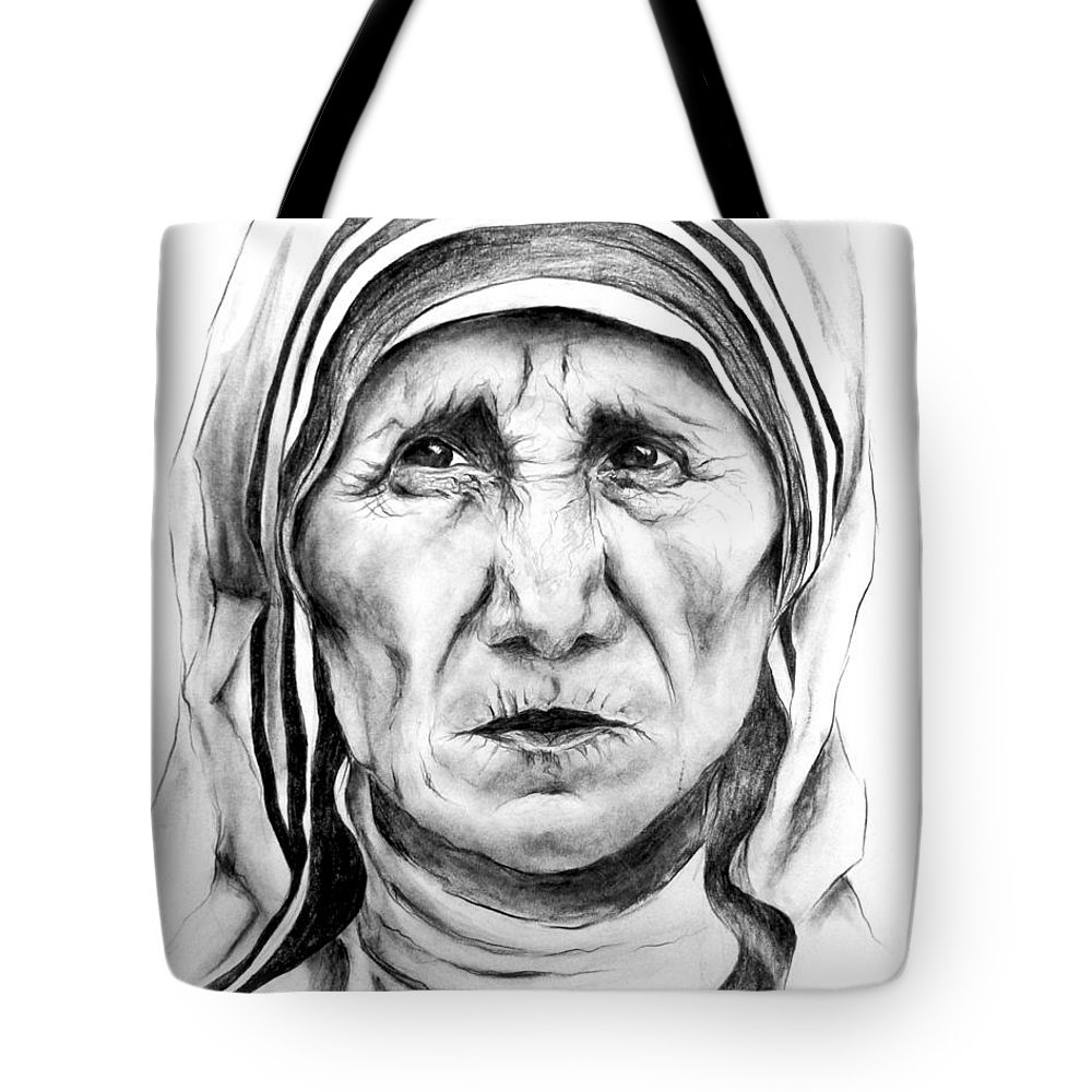 Mother Teresa Saint Catholic Nun Portrait Religious Tote Bag featuring the drawing Mother Teresa by Mary Zins