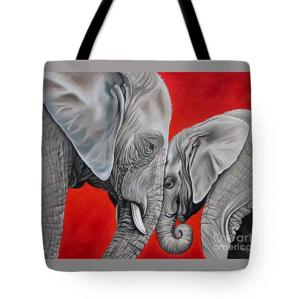 Elephant Tote Bag featuring the painting Mothers Love by Ilse Kleyn