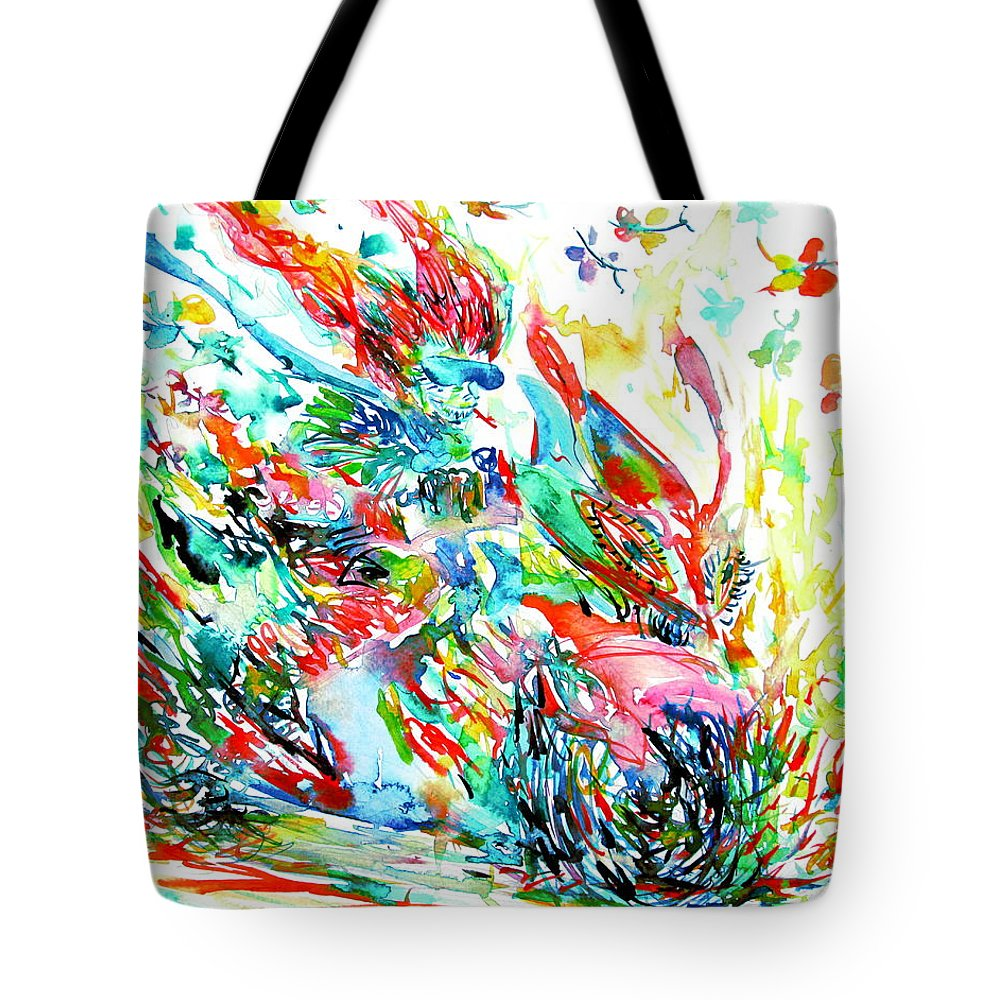 Motorbike Tote Bag featuring the painting Motor Demon With Butterflies by Fabrizio Cassetta