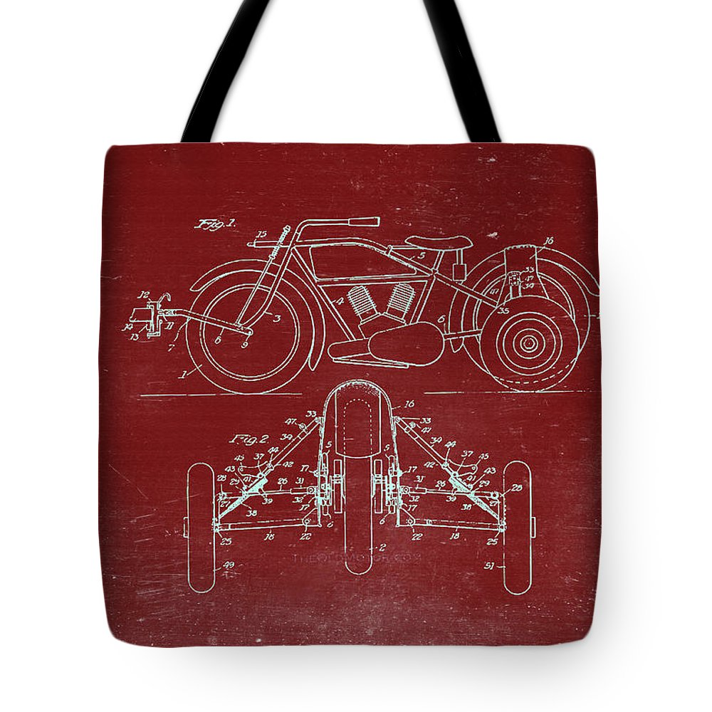 Retro Revival Tote Bag featuring the photograph Motorcycle Support Patent Drawing From 1932 3 by Samir Hanusa