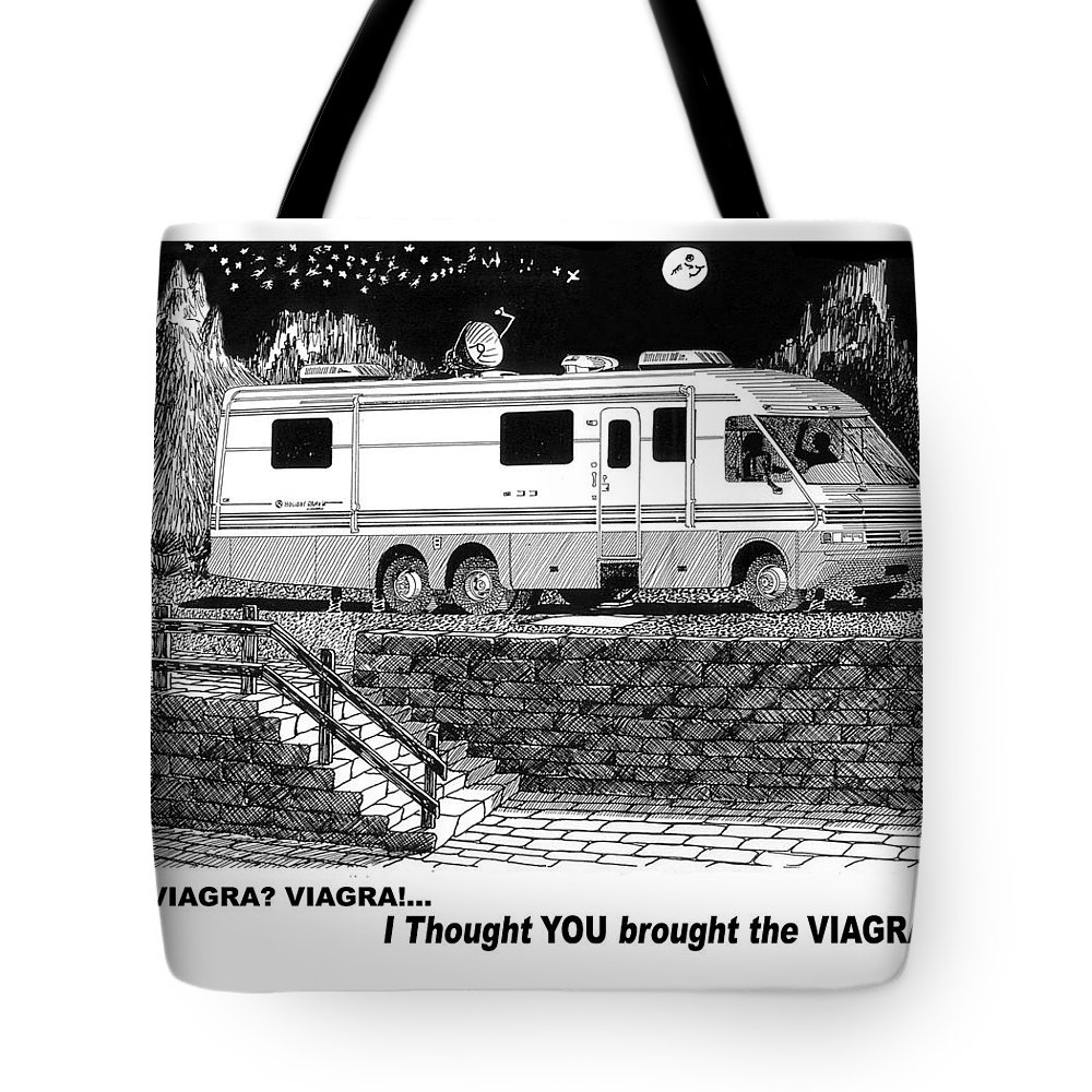 Camping Out In Your Motor Home Tote Bag Featuring The Drawing Motorhome Viagra Moonlight R V